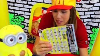 McDonalds Drive Thru Pretend Play With Minions Ordering Bananas