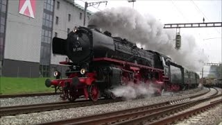 German Steam locomotive Br 01 202 at Kloten Switzerland (Verein Pacific 01 202)