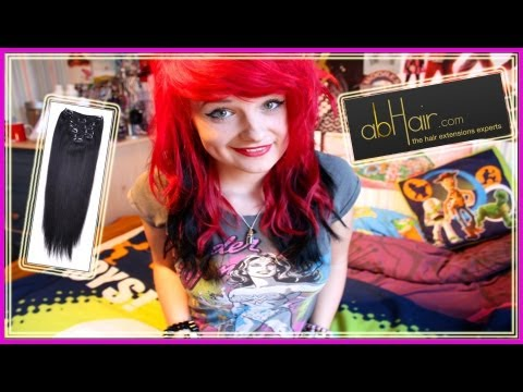 BLACK EXTENSIONS ON RED HAIR?!   abHair.com review!