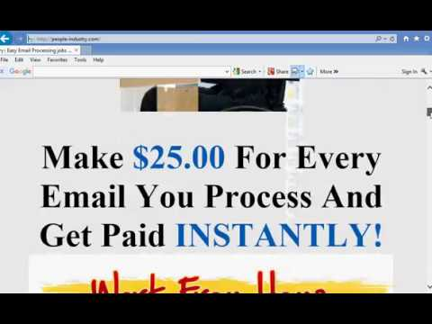 Email processing system work from home job way to make money from home
