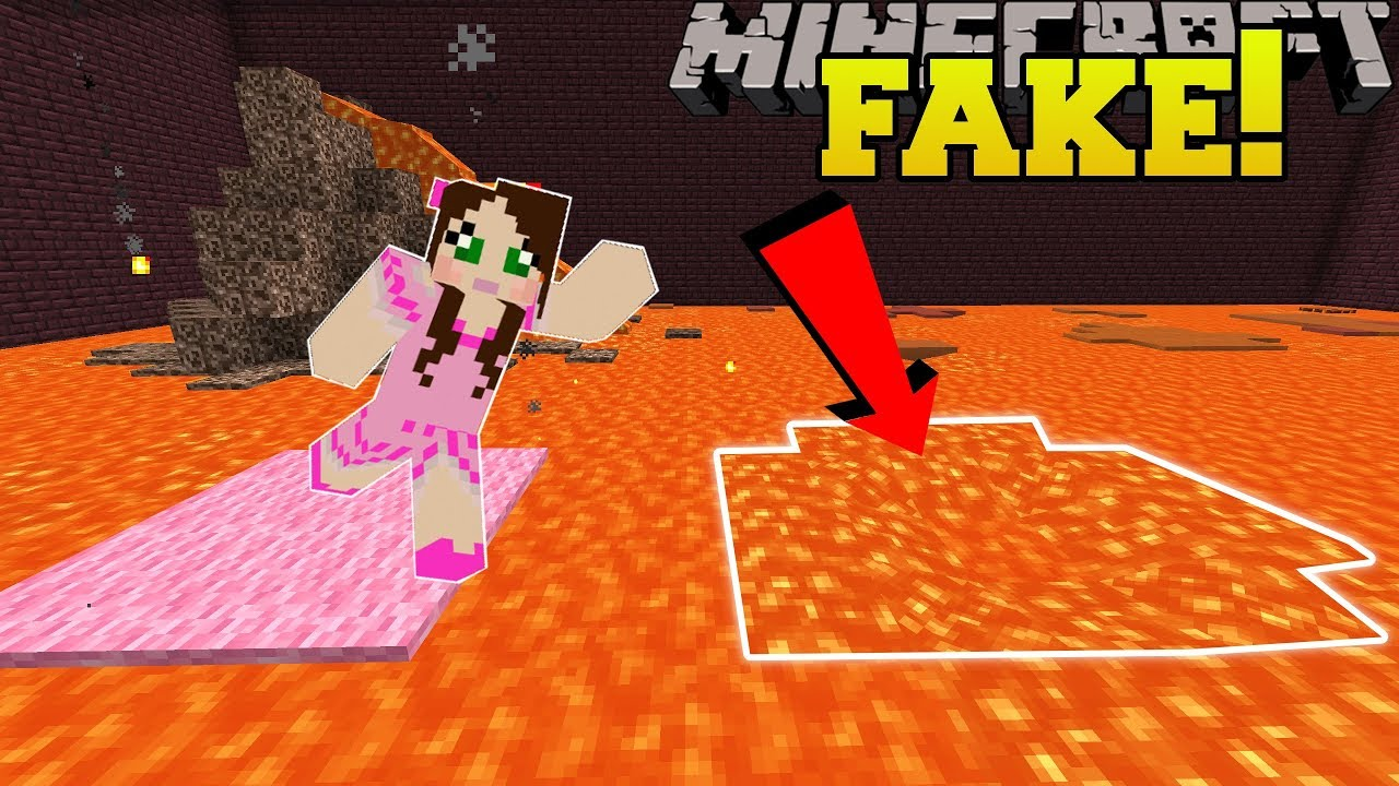 Minecraft: THIS LAVA IS FAKE!!! - Find The Button - Custom Map