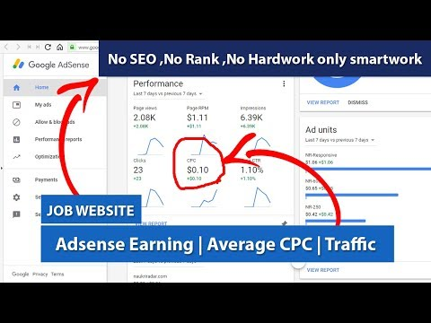 Job Website - Adsense Earning | Average CPC | Traffic and much more