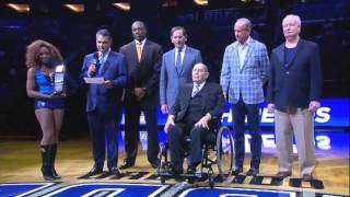 Orlando Magic celebrate Rich DeVos before game against Nets