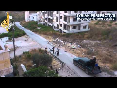 Syrian Airstrike Militant Machinegunners ضربة جوية من الطيران السوري تقضي على ارهابي رامي رشاش