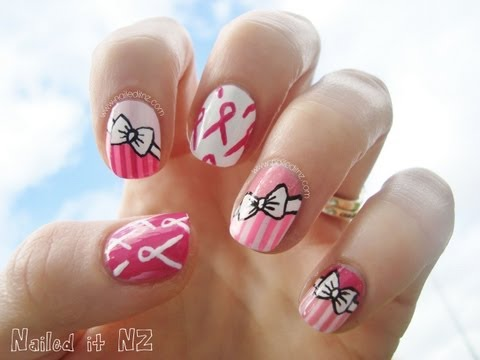 Awareness Ribbon Nail Art Pink Nail Art With Ribbons