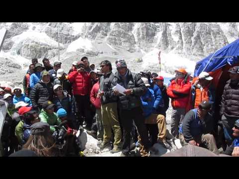 Everest 2014 - Sherpa Letter being read out at EBC