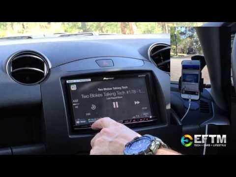 DRIVING WITH Apple CarPlay : demonstrated on a Pioneer stereo in a Mazda 2