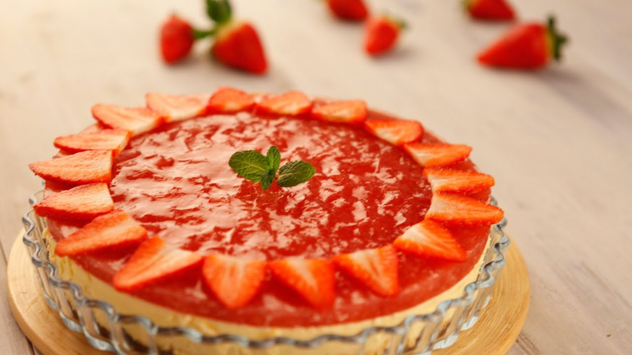 Tarta de mat y gelatina de fresas naturales con mycook youtube - Postres con fresas naturales ...