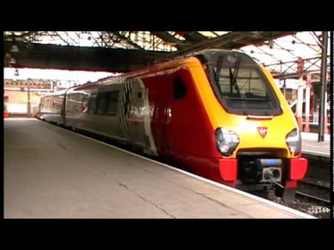 "Rare Mini Voyager @ Crewe. Virgin Trains' ""Spare"" 2 car Class 221 unit - 221144 , is seen stabled in Crewe's Platform 8 at 10:40 having arrived from Barton-u..."