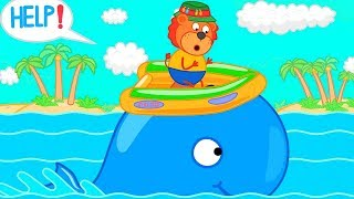 Lion Family Ride me Blue Whale Cartoon for Kids