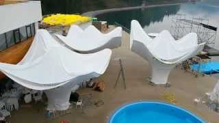 Mushrooms tents for VodaClub at Bukovel by Cegla D