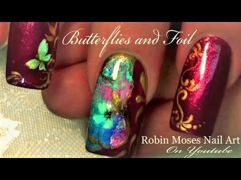 Butterfly Nail Art Design Tutorial with foil