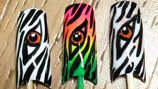 Very easy eye of the zebra nail art