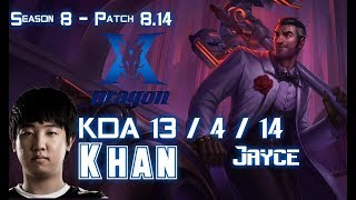 KZ Khan JAYCE vs DARIUS Top - Patch 8.14 KR Ranked