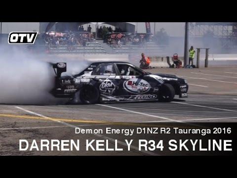Darren Kelly Hitec Oils R34 Skyline - D1NZ Drifting R2 Tauranga 2016