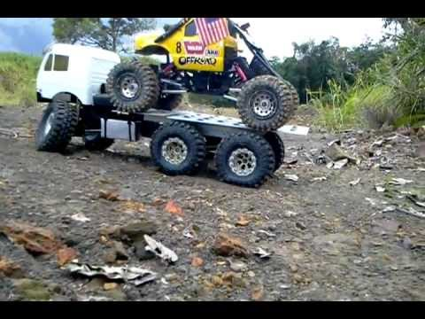Flatbed Tow Truck >> Rc scx10 6x6 carrying crawler 22-4-2012 - YouTube