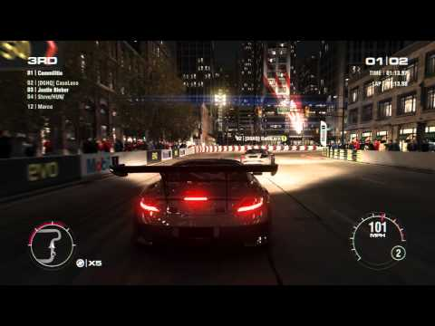 GRID 2 PC Multiplayer Race Gameplay: Tier 4 Fully Upgraded Mercedes-Benz SLS AMG GT3 in Chicago