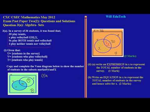 CSEC CXC Maths Past Paper 2 Question 3a May 2012 Exam Solutions (Answers)_ by Will EduTech