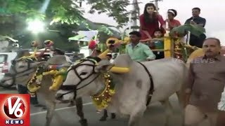 AP CM Chandrababu Naidu Grandson Devansh Rides On Bullock Cart In Naravaripalli