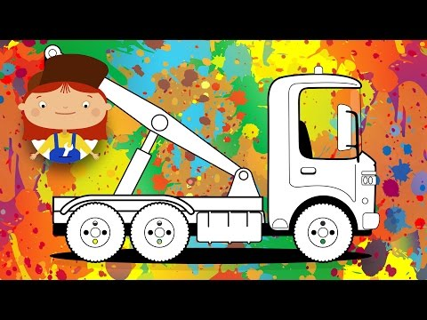 Coloring pages. Let's color a tow truck