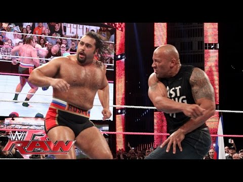 The Rock confronts Rusev: Raw Oct. 6 2014