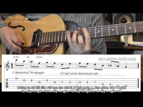 5 Dominant Diminished Jazz Guitar Patterns Licks   Half Whole Diminished Scale (Sub)