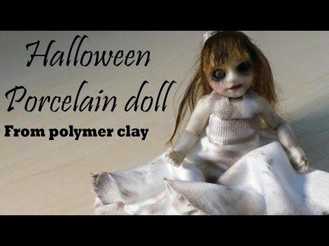 Halloween; 'Cute' Porcelain Doll Figurine - Polymer Clay Tutorial