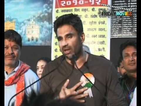 Sunil Shetty and Raza Murad at Mazdoor Union Meet