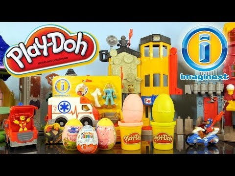 Kinder Surprise Play Doh Eggs Peppa Pig Easter Egg Hunt In Imaginext Rescue City Center Playdoh