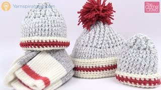 Crochet Sock Inspired Hats - All Sizes Tutorial