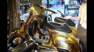 Vespa cổ 'dát' vàng độc nhất vô nhị ở Sài Gòn