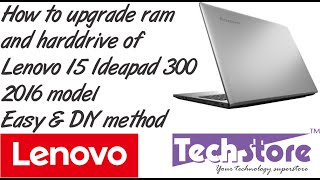 Lenovo Ideapad 300 How to upgrade memory and harddrive ssd wifi easy diy in 5 mins 2016 model