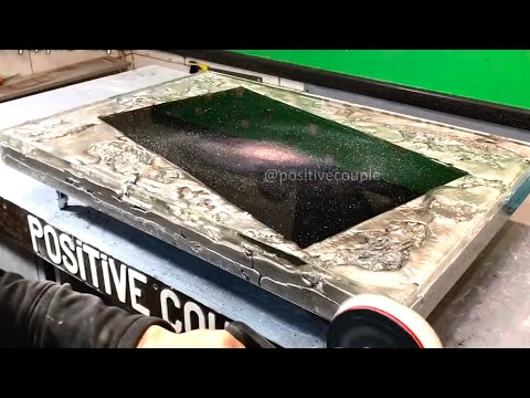 Casting of Molten Aluminum. Amazing Glowing Table Galaxy! Светящийся алюминиевый стол Галактика!
