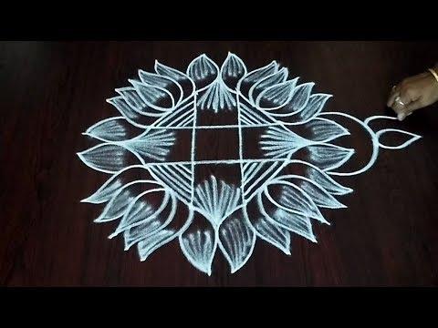 Latest 4 x 2 x 2 Lotus Flower Rangoli || Simple  Flower Muggulu || Fashion World