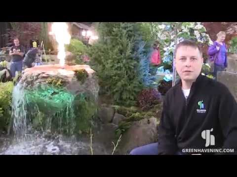 Outdoor Waterfall Lighting by Greenhaven Landscapes in Vancouver WA