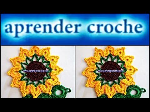 FLORES EM CROCHÊ 084 - FLOR GIRASSOL REI