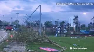 Debris strewn across school soccer fields following tornado in Ruston, LA