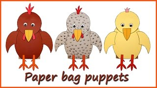 Rooster and Hen Paper Bag Puppets
