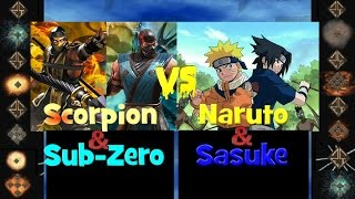 Subzero & Scorpion ( Mortal Kombat ) vs Naruto & Sasuke - Ultimate Mugen Fight 2014