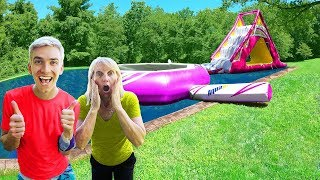 Surprising Mom with Giant Inflatable Backyard Waterpark!! (Pond Monster Injury Revealed)