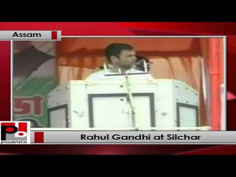 Rahul Gandhi addresses an election rally in Silchar(Assam)