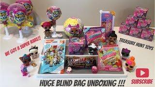 HUGE Blind Bag Unboxing Video Pikmi pop Num noms Smooshy Mushy Shopkins LOL Surprise