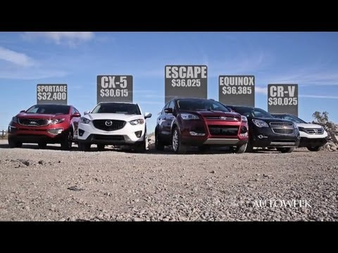 2013 Crossover competition: Ford Escape, Honda CR-V, Mazda CX-5, Chevy Equinox, Kia Sportage - video
