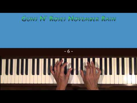 Guns N' Roses November Rain Piano Accompaniment Tutorial SLOW