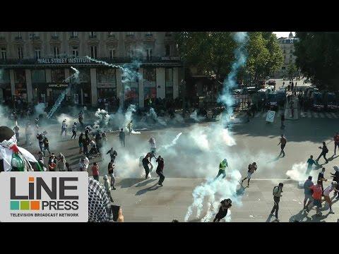 La manifestation interdite pour la Palestine dégénère / Paris - France 28 juillet 2014