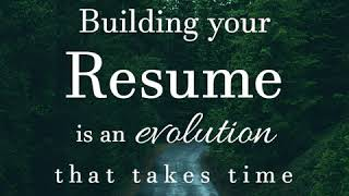 876THEDoctor🇯🇲 Building Your Resume Is an Evolution That Takes Time