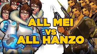 All Mei Vs. All Hanzo Match - Overwatch Gameplay