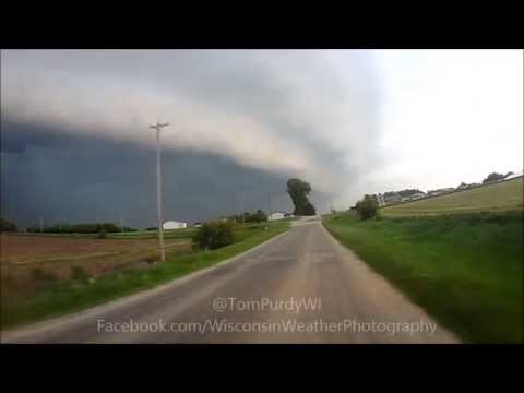 Grant County Wisconsin Shelf Cloud and Tornado Warned Storm 5-29-13