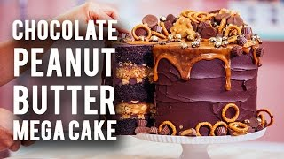 How To Make A CHOCOLATE PEANUT BUTTER MEGA CAKE! Rich Chocolate, Sweet Caramel & Peanut Butter!