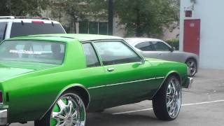 "CANDY SLIME GREEN BOX CHEVY ON 28"" DUB FLOATERS"
